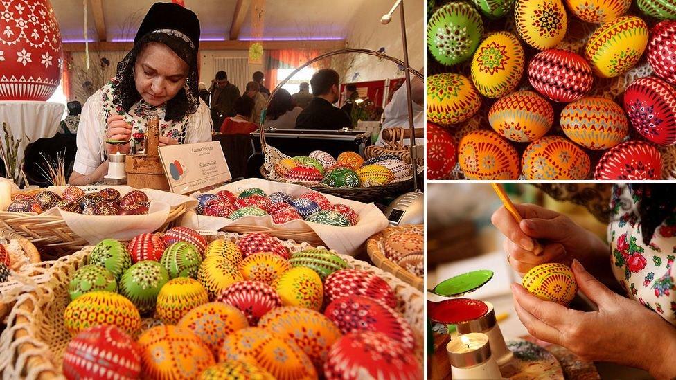 Лужицькі серби розписують яйця кольоровим воском