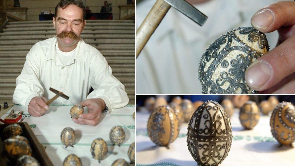 Ласло Богнар володіє унікальною технікою оздоблення яйця металом